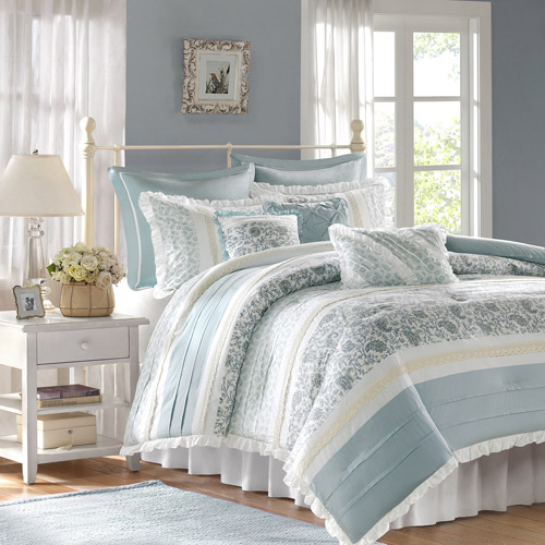 Home Essence Stella 9-Piece Bedding Comforter Set, Blue