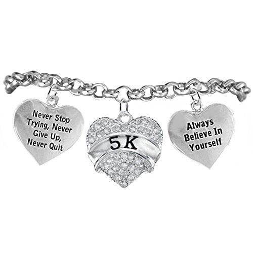 "5K Runner Hypoallergenic ""Never Stop Trying"" ""Never Give Up"" Bracelet, Adjustable, Safe-Nickel, Lead, Free!"