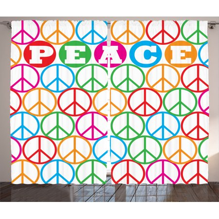 1960s Peace Sign (1960S Decor Curtains 2 Panels Set, Colorful Internationally Recognized Peace Symbol Sign With The Letters Counter Culture Print, Living Room Bedroom Accessories, By)