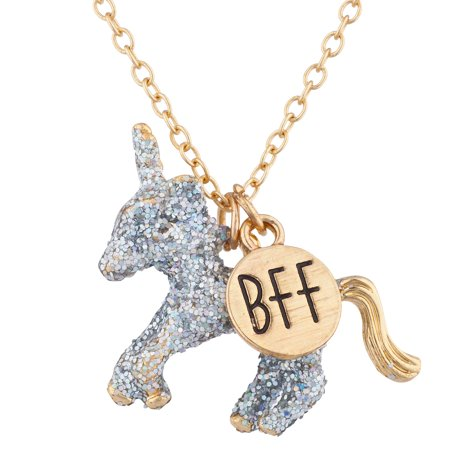 Lux Accessories Gold Tone Silver Glitter Unicorn BFF Novelty Pendant - Novelty Necklaces