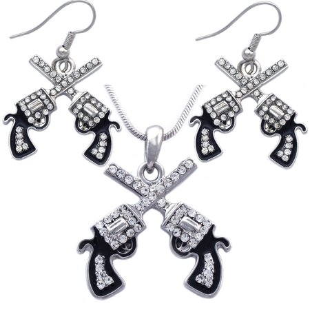 cocojewelry Western Cowboy Crossing Revolver Gun Pendant Necklace Dangle Earrings Set ()