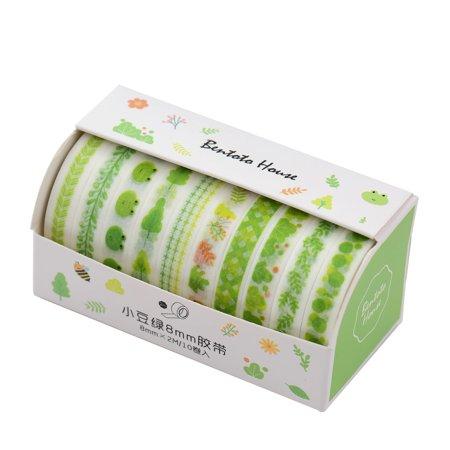 Washi Japanese Paper Tapes Scrapbooking Tape Rolls Lovely Design 10pcs/set for Arts Journals Decoration DIY Gift Packaging Japanese Washi Paper Tape