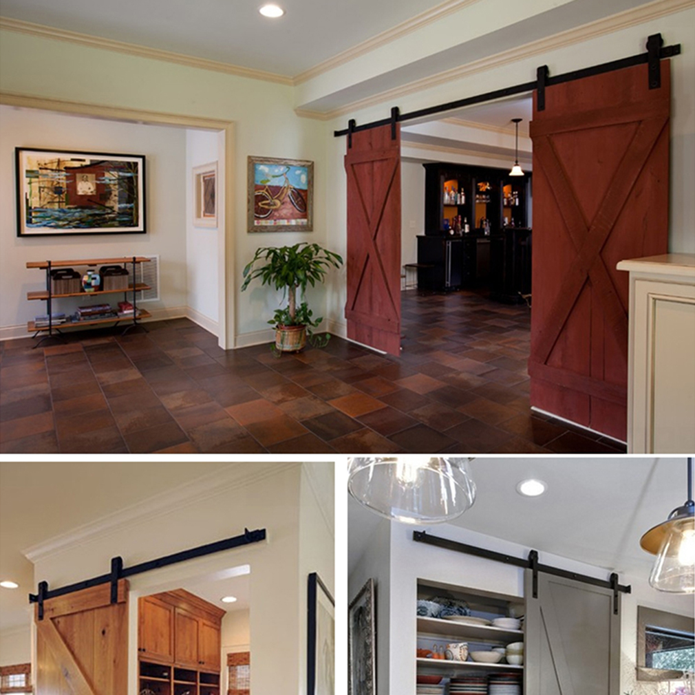 5ft Sliding Barn Door Hardware Wood Door Hanging Rail Type Black Sliding  Track Door Hardware Closet