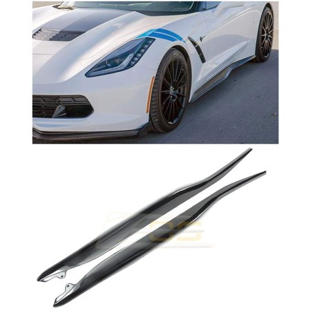 Replacement for 2014-Present Chevrolet Corvette C7 | Z06 Z07 Style ABS Plastic Painted Carbon Flash Metallic Side Skirts Rocker Panels Extension Pair