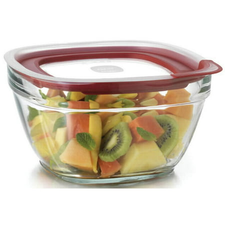Rubbermaid Glass with Easy Find Lids, 11.5 Cup, Square, Red (12 Cup Glass Container)