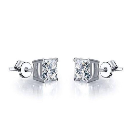 Tiara Princess Cut Iobi Cultured Diamond Solitaire Stud Earrings Platinum 75 Ct