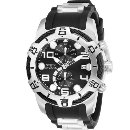 Men's Bolt 50mm Two Tone Silicone Band Steel Case Quartz Black Dial Analog Watch