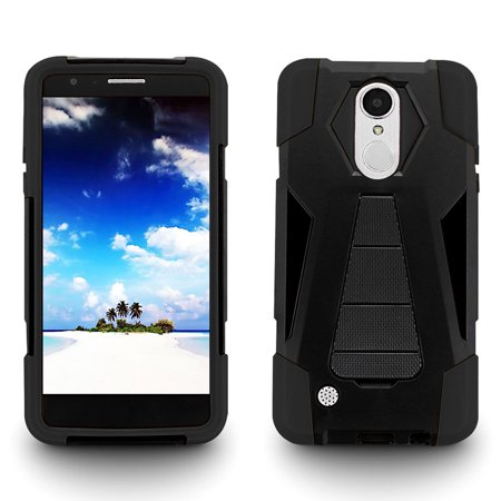 Turbo Rubber - For LG K20 Plus Turbo Layer HYBRID KICKSTAND Rubber Case Cover +Screen Protector