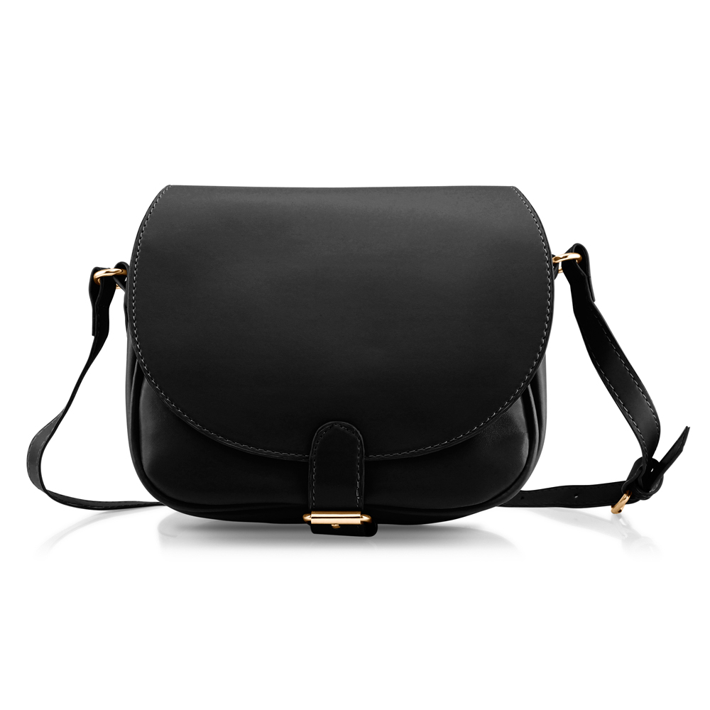Fashion Women Crossbody Handbag PU Leather Shoulder Bag Tote Purse Ladies Satchel Messenger Hobo Bags - Black