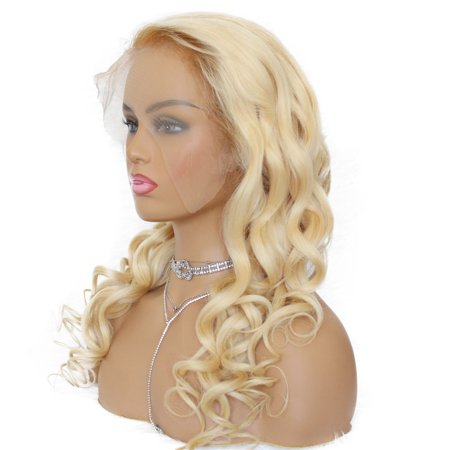 - AISOM Peruvian Loose Wave Lace Frontal Human Hair Wigs 613 Blonde Color 150% Density, 12