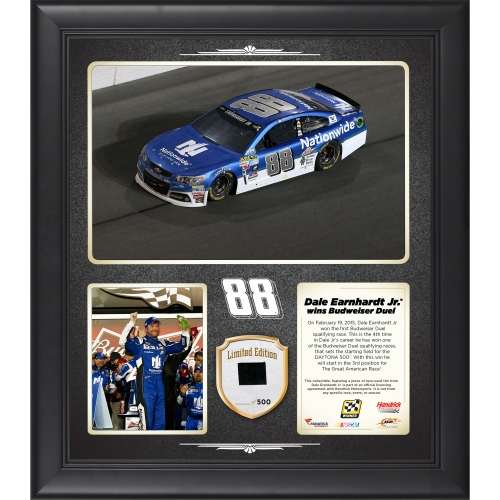 "Dale Earnhardt Jr. Fanatics Authentic Framed 15"" x 17"" 2015 Budweiser Duel 1 at Daytona International Speedway Race Winner Collage With Tire - Limited Edition of 500 - No Size"