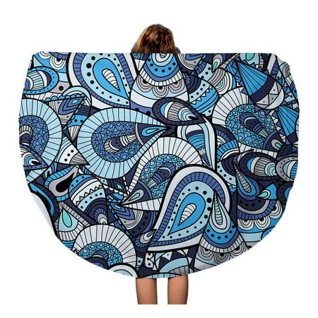 SIDONKU 60 inch Round Beach Towel Blanket Batik Abstract Ornaments Beautiful Beauty Doodle Drawing Drawn Fantasy Travel Circle Circular Towels Mat Tapestry Beach Throw