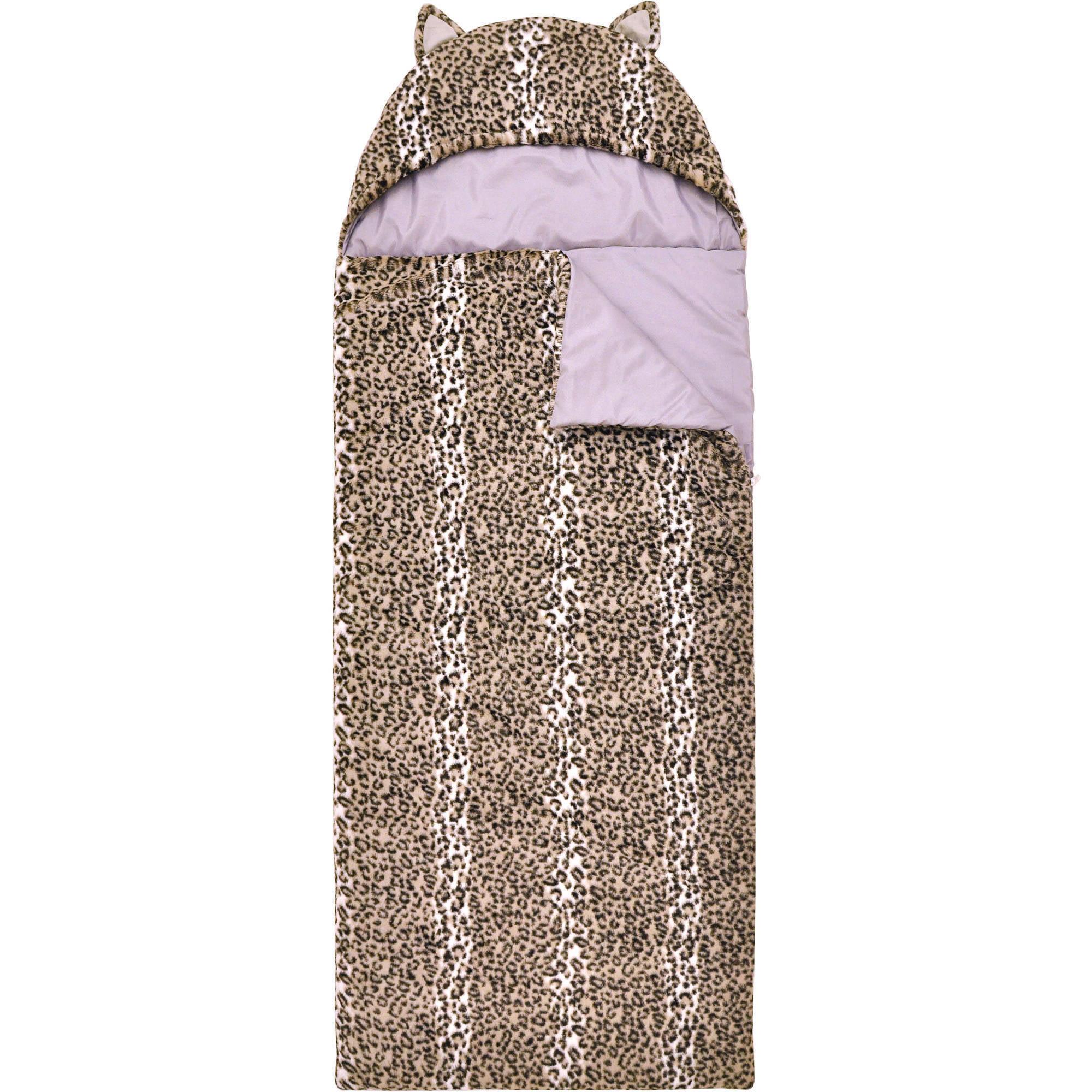 Mainstays Kids Snow Leopard Faux Fur Cuddly Sleeping Bag