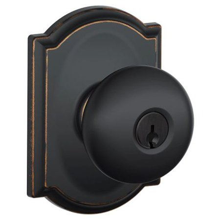(Schlage F51-PLY-CAM Plymouth Keyed Entry F51A Panic Proof Door Knob with Camelot Rosette)