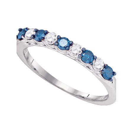 10kt White Gold Diamond Engagement Ring for Womens Round Blue Color Enhanced Wedding Band 1/2 Cttw - April Wedding Colors