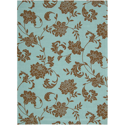 Nourison Home and Garden Polyester Indoor/Outdoor Rug, Light Blue