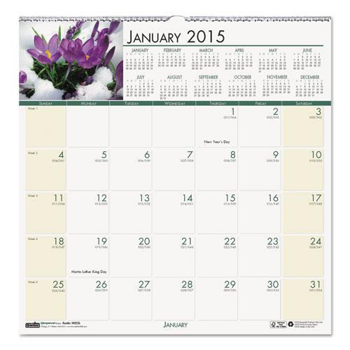 Recycled Floral Monthly Wall Calendar HOD326