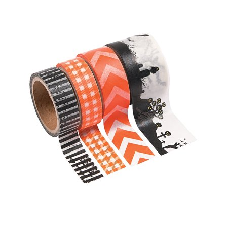 Fun Express - Spooky Halloween Washi Tape for Halloween - Craft Supplies - Bulk Craft Accessories - Felt & Fabrics - Halloween - 4 Pieces