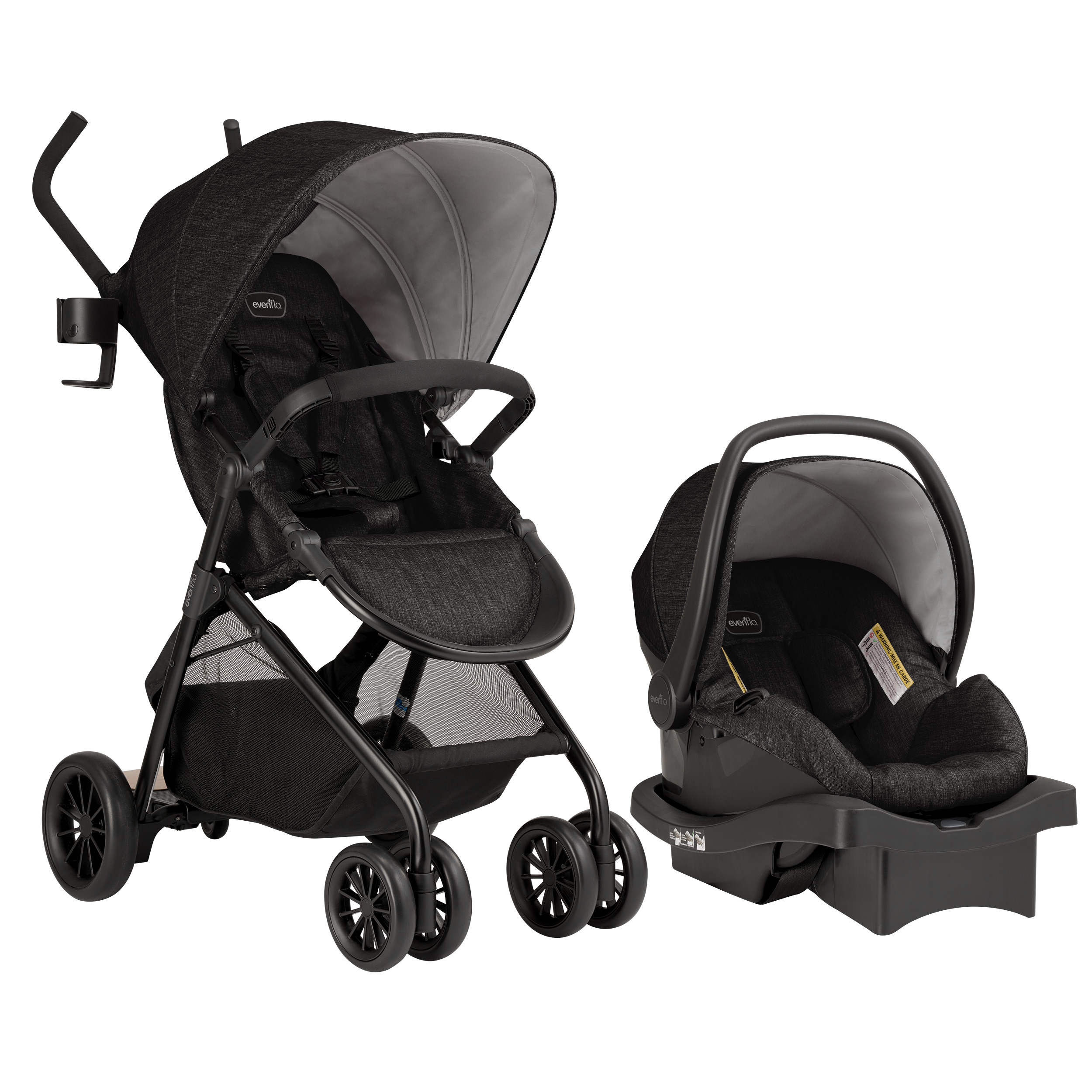 Evenflo Sibby Travel System w/ LiteMax Infant Car Seat, Charcoal