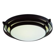 Two Light Frosted Glass Rubbed Oil Bronze Bowl Flush Mount