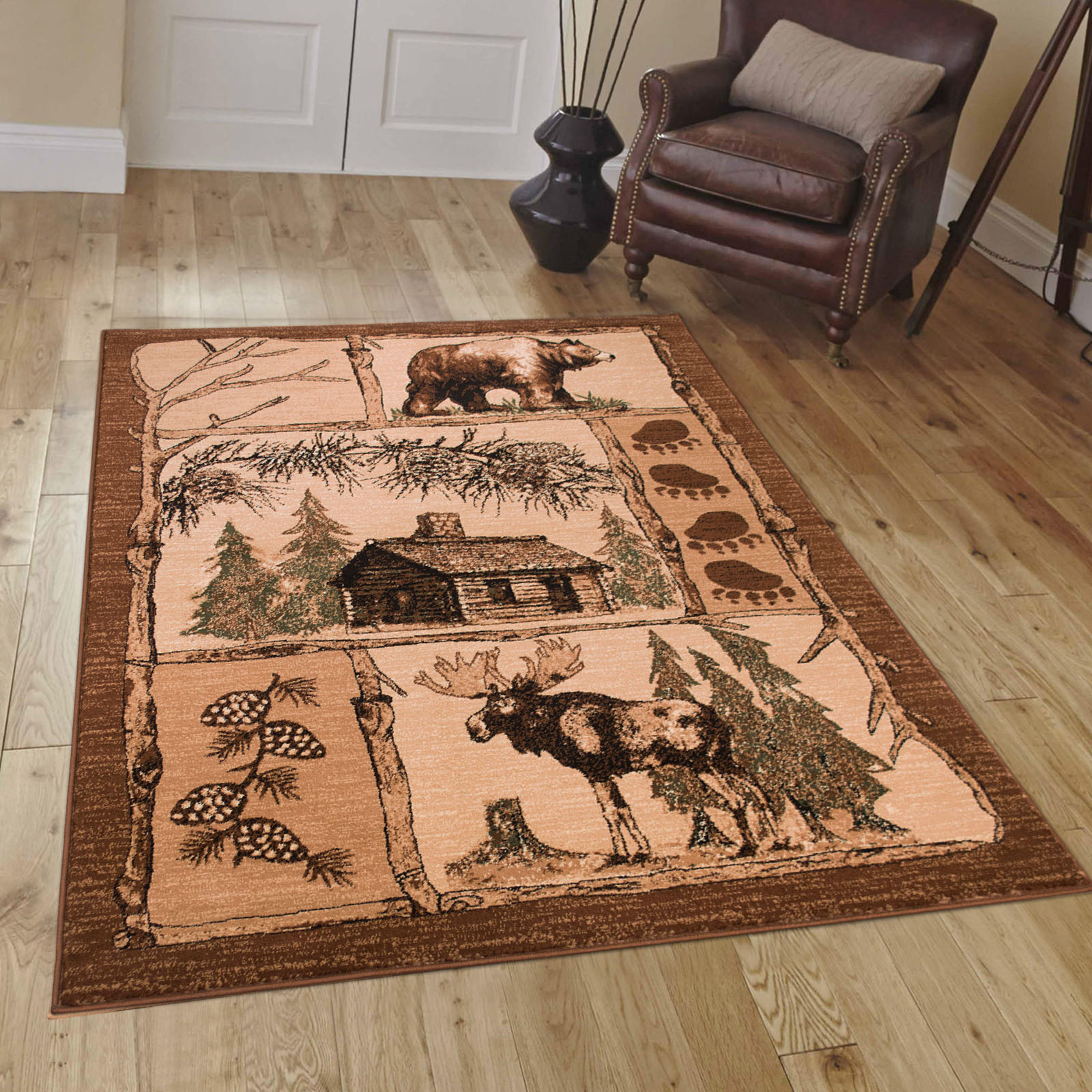 Brown Cabin With Moose And Bear Animal Wildlife Area Rug