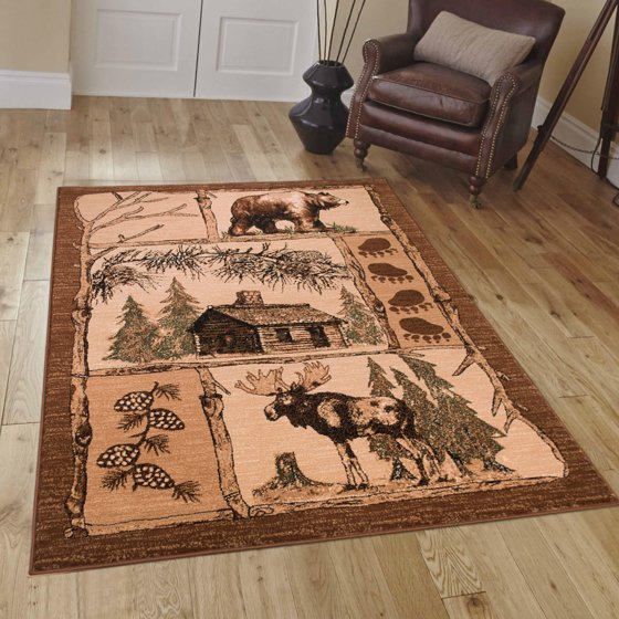Game Area Rugs: Brown Cabin With Moose And Bear Animal Wildlife Area Rug