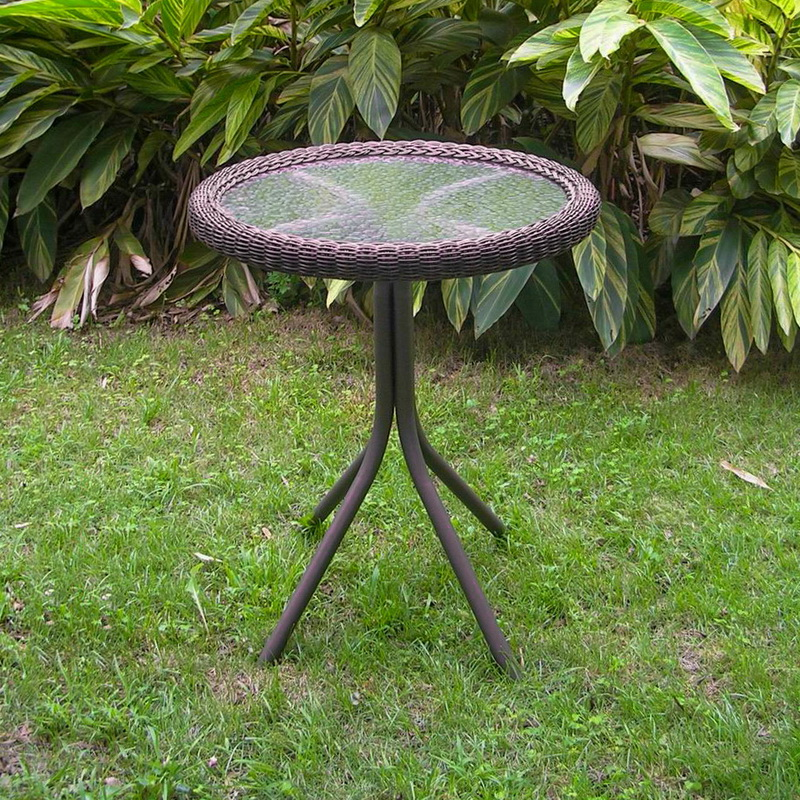 Maui Resin Wicker/ Steel Bistro Table with Glass Top - Antique Pecan