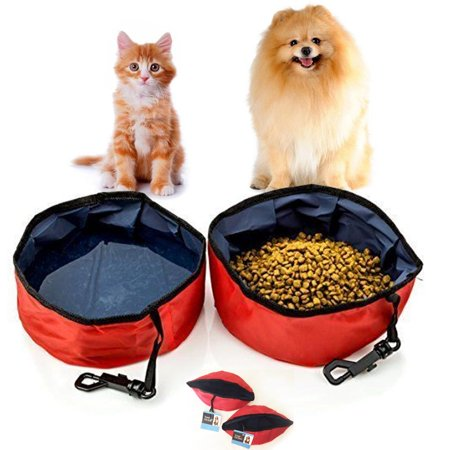 Dog Travel Feeder - 2 Pc Travel Pet Bowl Water Food Portable Dog Drink Dish Water Cat Feeder Folding