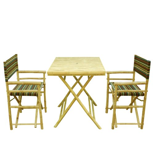 Bay Isle Home Petra Bamboo 3 Piece Bistro Set