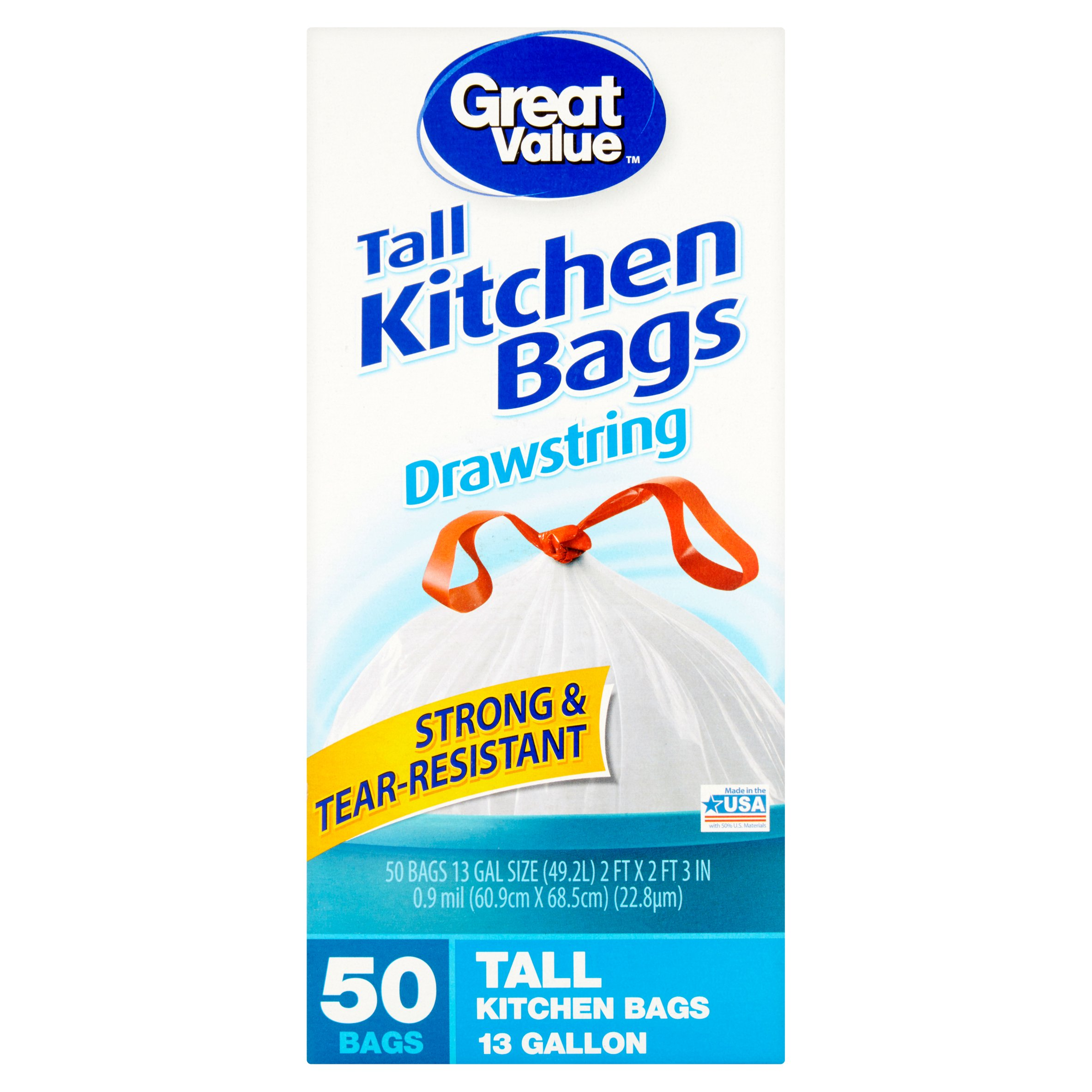 Great Value Tall Kitchen Drawstring Trash Bags, 13 Gallon, 50 Ct