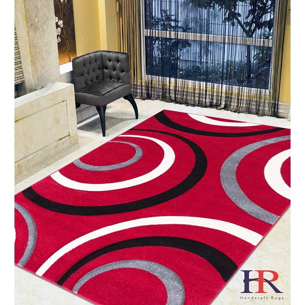 Modern Circles Waves Surfs Pattern Contemporary Area Rug With 3d Hand Curve Effect Red White Black Gray Walmart Com Walmart Com