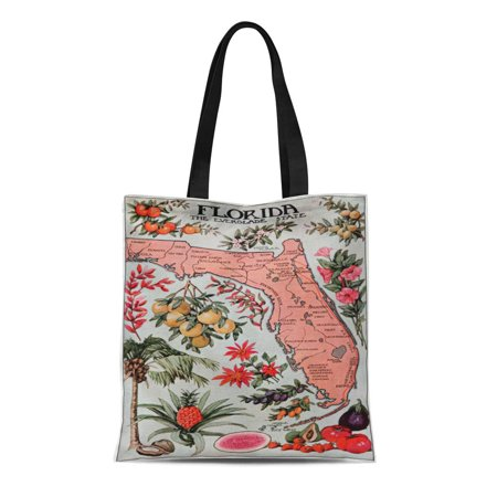 LADDKE Canvas Tote Bag Fruits Vintage Map of Floral Flowers Coral Reusable Handbag Shoulder Grocery Shopping Bags - Coral Tote Bag