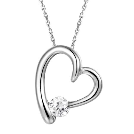 Solitaire Heart Pendant Sterling Silver Simulated Diamond 18   Free Necklace Set