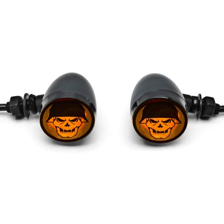2pc Skull Lens Black Motorcycle Turn Signals Bulb For Yamaha Royal Star Venture Classic Royale Deluxe - image 4 of 6