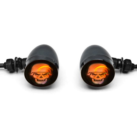 2pc Skull Lens Black Motorcycle Turn Signals Bulb For Vespa ET2 ET4 Limited - image 4 of 6