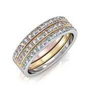 """Elizabeth ?Ç£Faithful"""" 18k Tri-colored Gold Plated Ring Set, Jewelry For Women, Ring, Stackable Rings, Gold Rings, Ring Set, Crystal Rings, Silver Rings, Classic Rings (9) - msrp $169"""