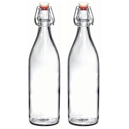 33.75 oz Resusable Clear Glass Bottles with Stopper, Large Grolsch Bottles