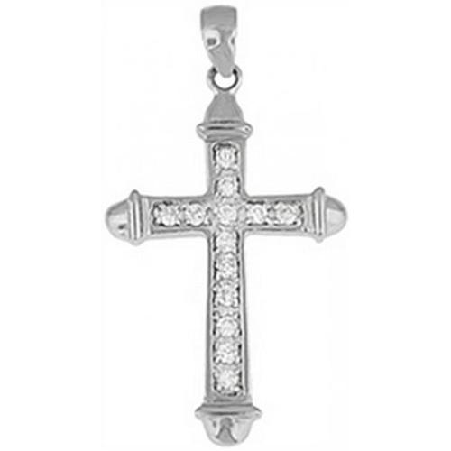 Doma Jewellery DJS03449 Sterling Silver (Rhodium Plated) Cross Pendant with CZ and Extension Leather Necklace