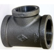 Worldwide Sourcing Pipe Tee, 3/4 X 3/4 X 1/2 In, Threaded, Malleable Iron