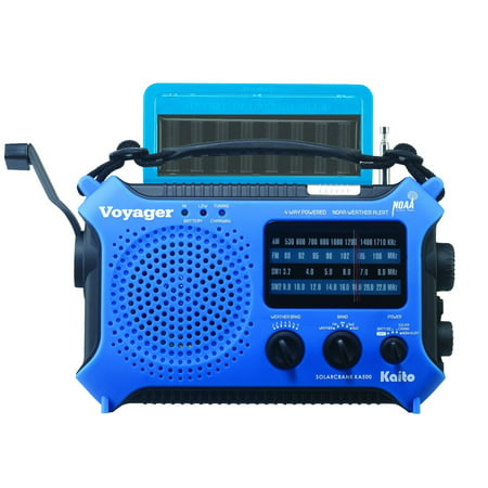 Kaito KA500 5-way Powered Emergency AM/FM/SW NOAA Weather Alert Radio with Solar Dynamo Crank Flashlight and Reading Lamp - Blue