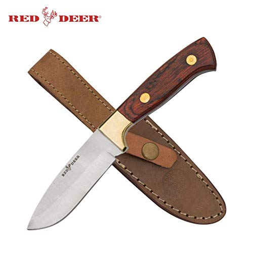 "8.5"" Red Deer Pakka Hunter Full Tang Drop Point Pakka Wood Hunting Knife"