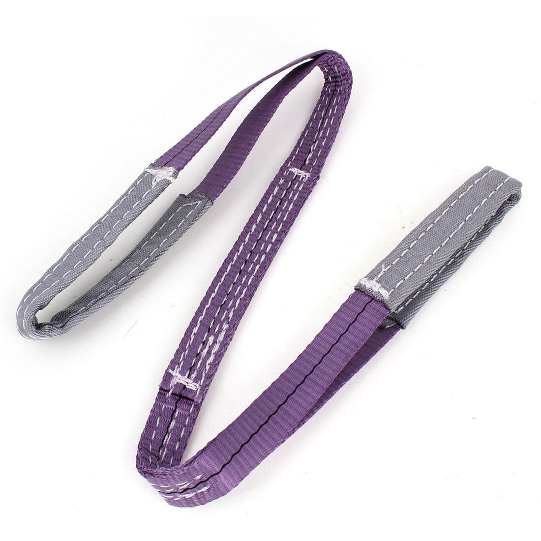 Unique Bargains Purple Gray Eye to Eye Flat Webbing Web Lifting Strap 3.3ft Length 2.5cm Wide