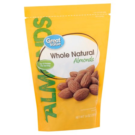 Great Value Whole Natural Almonds, 14 Oz (Awesome Almonds)