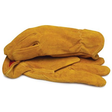 BLACKCANYON OUTFITTERS Split Leather Gloves with Red Fleece Lining and Elastic Wrist - Large 1 Pai Multi-Colored