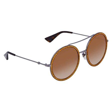 Gucci Round Silver-Gold Glitter Ladies Sunglasses GG0061S 011 56