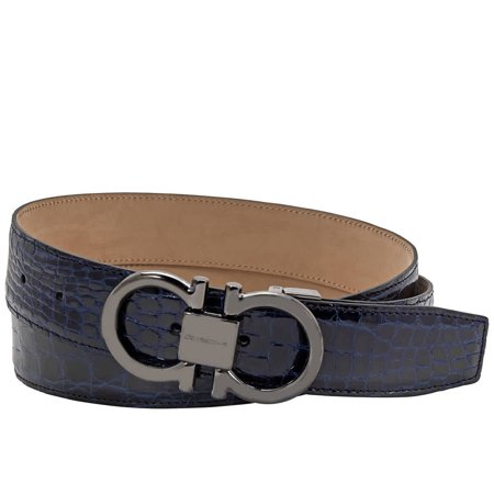 Salvatore Ferragamo Men's Adjustable Crocodile Leather Gancini Belt, Brand Size 105 CM