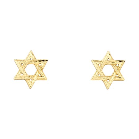 Star Of David Stud Earrings Solid 14k Yellow Gold Jewish Star Post Studs Diamond Cut 10 x 10 mm