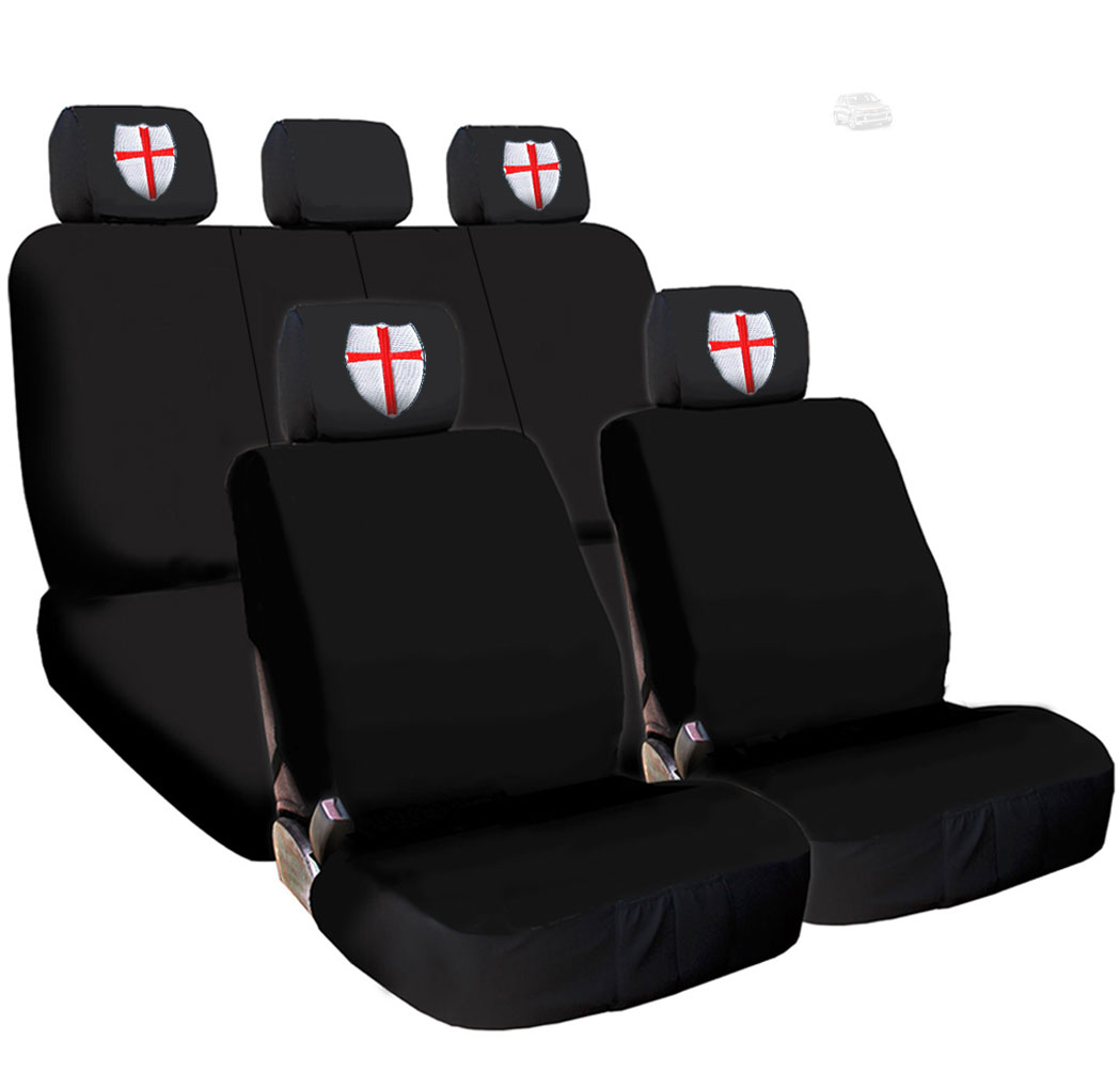 New Black Flat Cloth Universal Fit Car Seat Covers With Embroidery Logo Headrest Covers Support 60/40 Split Seats (Templar)
