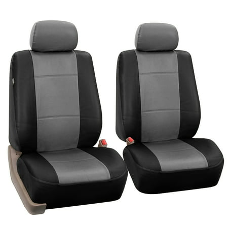 FH Group Gray and Black Faux Leather Airbag Compatible Car Seat Covers, 2 Pack