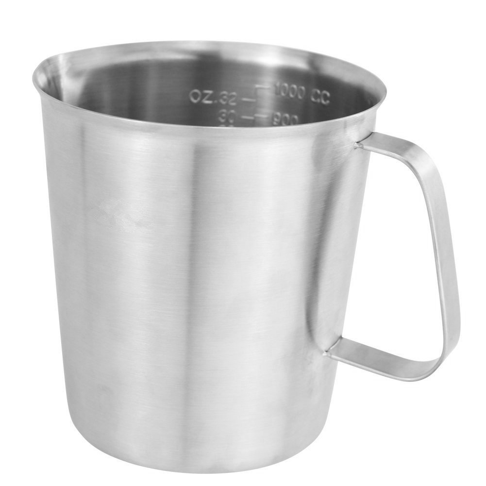BeautyTale 1000 ML Stainless Steel Measuring Cup Espresso Coffee Milk Steaming Frothing Pitcher for Espresso Machines, Milk Frothers and... by